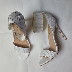 White Ankle Strap Stiletto Shoedazzle Heels 10US